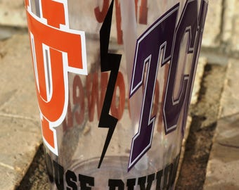 House Divided UT Texas Longhorns and TCU Texas Christian University Horned Frogs Personalized Double Walled Tumbler with Lid / Straw