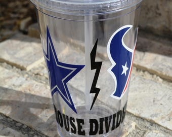House Divided Dallas Cowboys and Houston Texans Personalized 16 oz Double Walled Tumbler with Lid / Straw