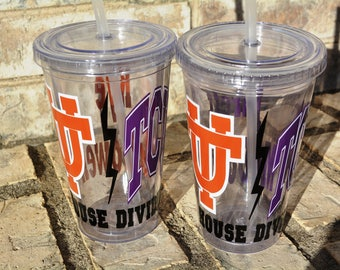 Set of 2 House Divided UT Texas Longhorns and TCU Texas Christian University Horned Frogs Personalized Tumbler Cup with Lid / Straw