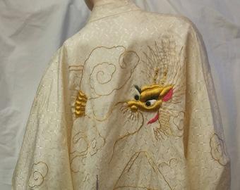Vintage hand embroidered gold dragon kimono robe with pagoda  - boho