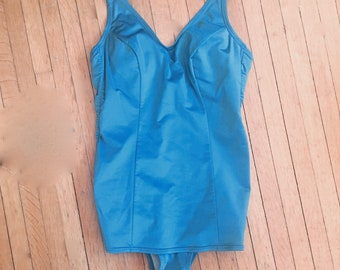 fb8e9f92c16 RETRO Lane Bryant made in ITALY one piece SWIMSUIT in turquoise blue with  built in Bra! size Small B