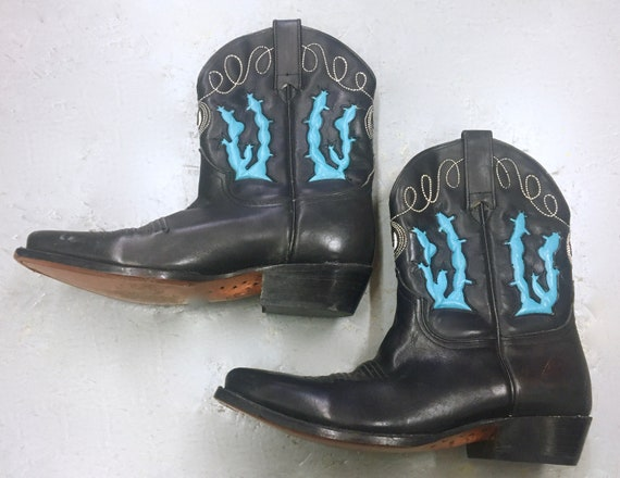 ADAMS Boots - short COWBOY boots with Blue CACTUS'
