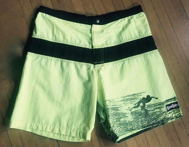 Made in the USA 1980s Bright NEON Surf shorts by GOTCHA  size 34