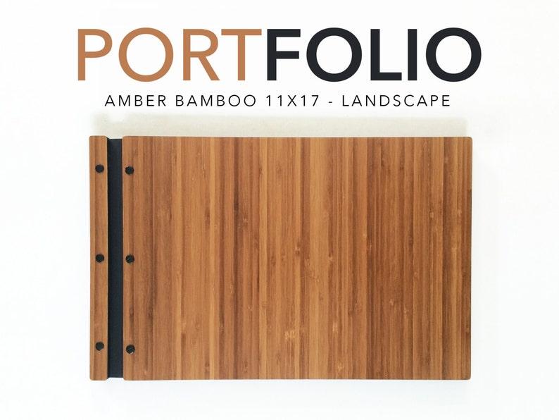 11x17 LANDSCAPE Amber Bamboo Portfolio Presentation Folio   Etsy