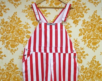 Vintage 1990s Red and White Striped Overalls Dungarees Coveralls in Brand New Condition Size L
