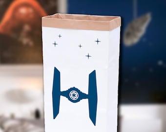 Sac de papier Kraft de rangement pour peluches, livres ou jouets Star Wars / sac en papier personnalisable / sac de rangement de papier avec Tie Fighter / sac de Star Wars