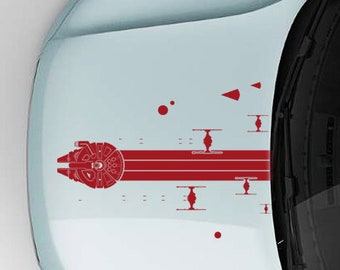 Millenium Falcon chased by Tie Fighter Squad decal / Millenium Falcon wall decal / TIE Fighter decals / Falcon for car hood