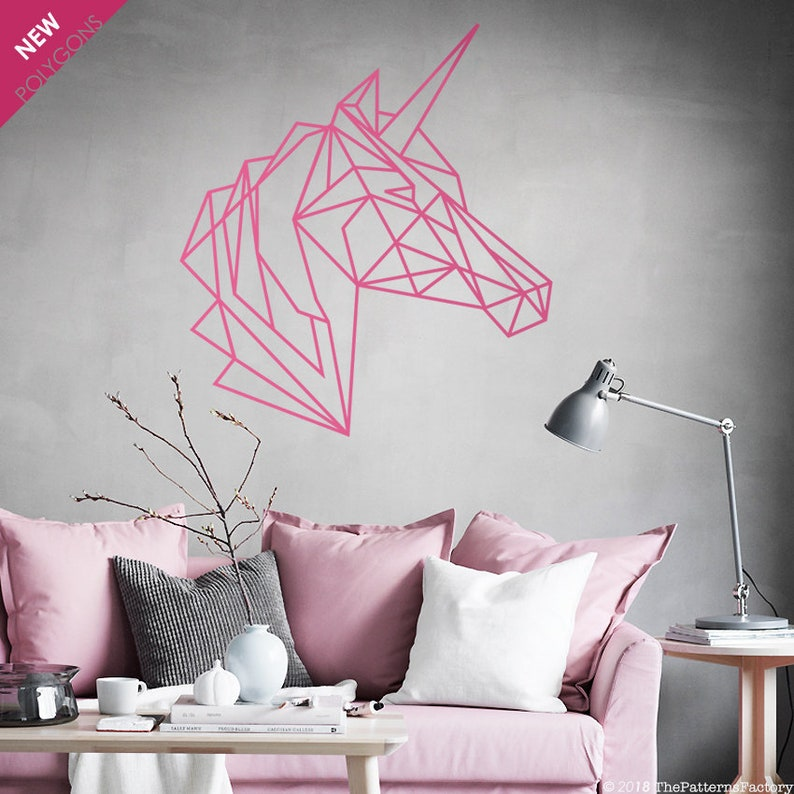 unicorn wall decal / geometric unicorn head sticker / unicorn | etsy