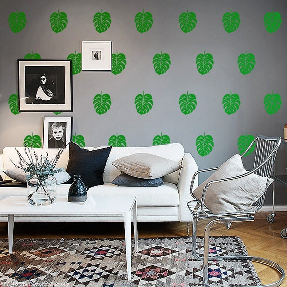 Falling Leaves Wall Decal Kit Nature /& Geometric Shapes Wall Decal by Chromantics