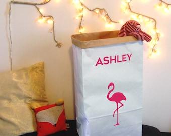 Sac en papier Kraft rangement pour jouets, des livres ou des ours en peluche / sac en papier personnalisable / sac de rangement de papier de flamant rose / enfants chambre sac avec le nom