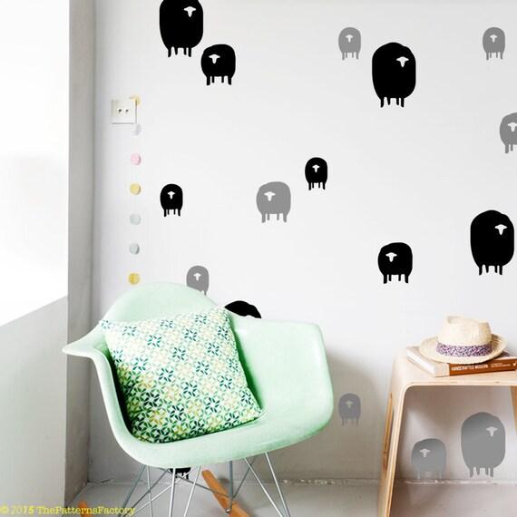 Herde Der Schafe Wandtattoo Muster Aufkleber Kinderzimmer Etsy