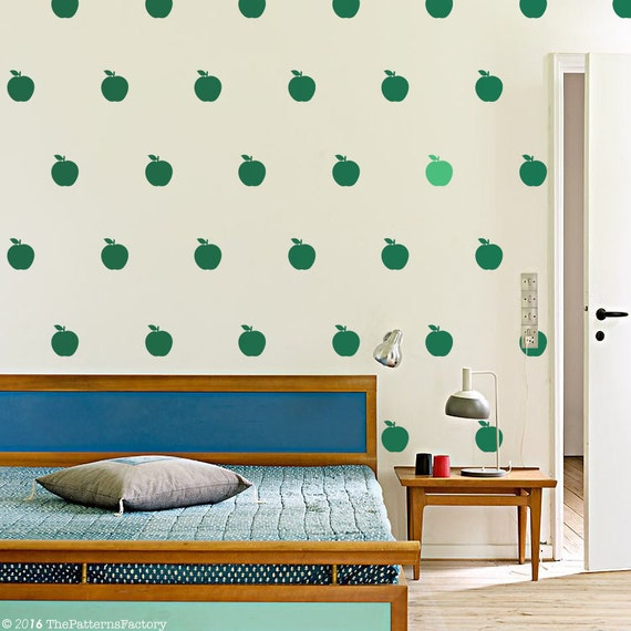apple wall decal / 36 or 72 apple stickers / modern fruit wall | etsy