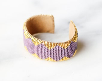 Purple and gold beaded cuff bracelet