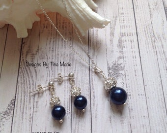 e3ea56beded0 Chloe Swarovski Pearl   Crystal Rhinestone Set -Darker  Colours-Bridesmaid Prom Jewellery Set -Sterling Silver Earrings and Necklace