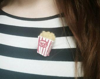 Box-O-Popcorn Novelty Brooch