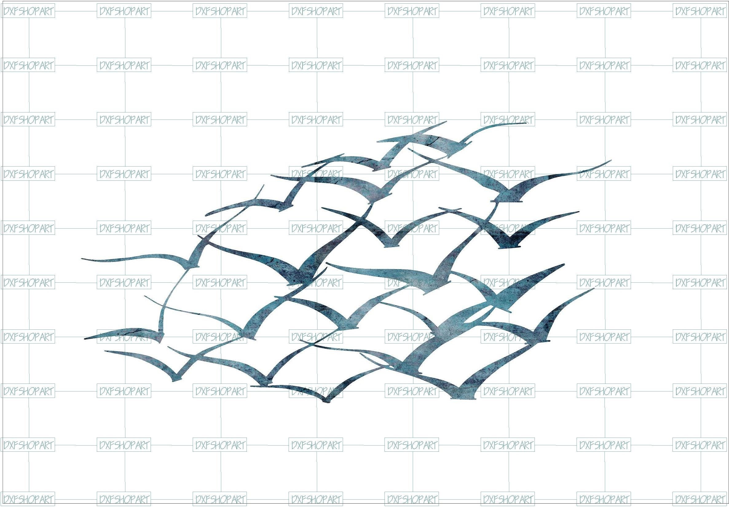 DXF CNC dxf for Plasma Laser Waterjet Plotter Router Scalable Sea Gulls  Wall Art Cut ready Vector Dxf Svg Vector cnc file Ocean Beach