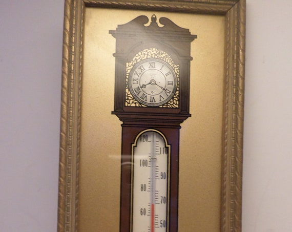 "Vintage 1930s NORM""S MARKET choice meats Polish Sausage Kielbasa Grandfather clock thermometer premium advertising"