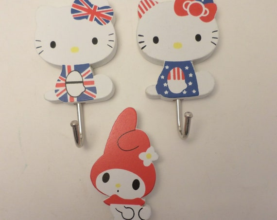 3 vintage Hello Kitty & My Melody hooks 80's-90's U.K. U.S. classic