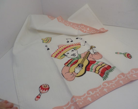 Mexico 50's mexican palying guitar kitsch tea towel napkin new old stock