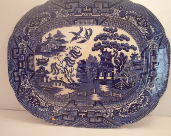 A Blue Willow Antique Platter Allertons England Willow mark Hard To Find Size Use or Decorate Farm House Chic Cottage Decor