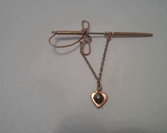 Vintage Antique Gold Plated Wire Sword Scarf or Lapel Pin with trailing Heart Charm WWII Soldier Sweetheart Pin