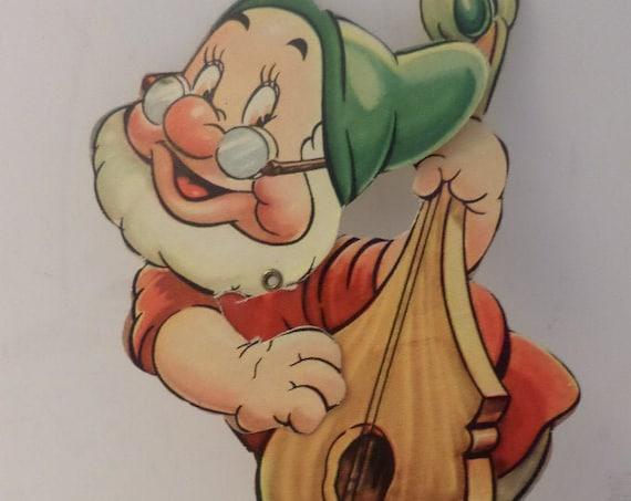 Snow White and the 7 Dwarfs Doc vintage 30s Valentine that moves! USA Walt Disney