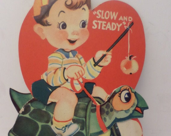 Vintage 1930s Valentine moving turtle pony slow and steady
