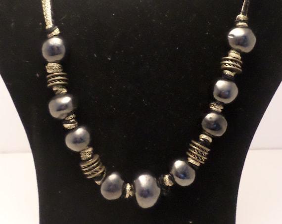 fabulous 90s big hemitite bead necklace metallic silver beads