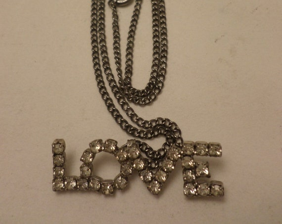 Vintage 80's rhinestone LOVE oendant on chain necklace