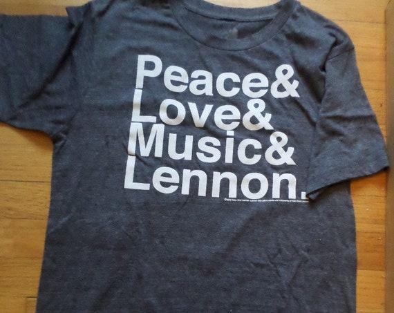 Resale Peace Love Music Lennon heather navy blue t shirt ZION rootswear M
