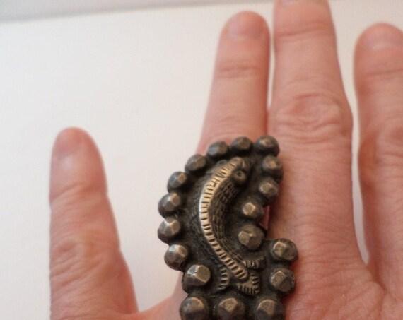 Old Nomadic Asian Carp Koi heavy ring silver metal symbol of Samurai & courage