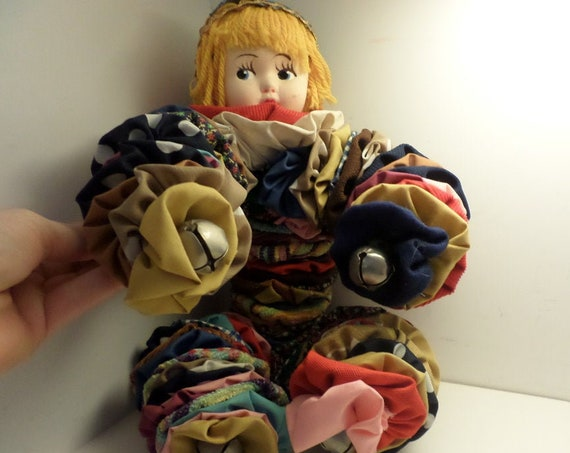 Vintage 70's quilt yoyo hand made craft doll hugger vibrant and clever