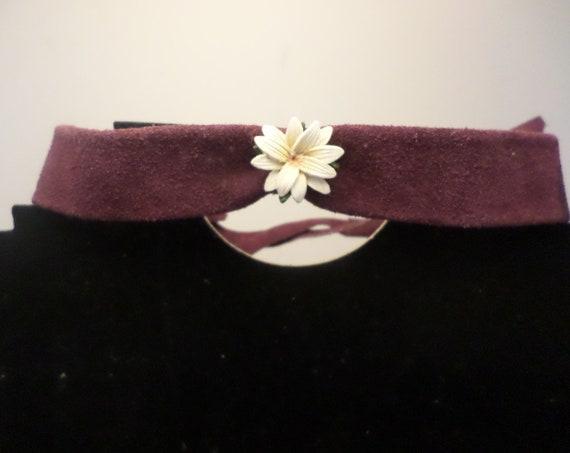 fabulous 70s original vintage purple suede choker leather lilly daisy So Joplin Hippie