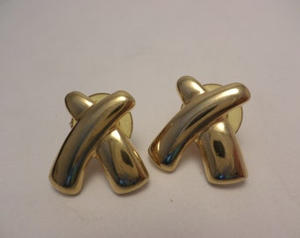 ef2dc5c37 Vintage Paloma style X's earrings gold tone peirced 90's