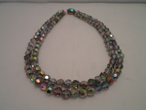 Vintage Faceted Iridescent Crystal Beaded Necklace Reflects light and color Stunning Double Strand