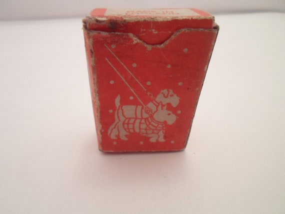 Antique Art Deco Original Scottie Dogs on Leash Minature Pocket Playing Cards Complete Made in England Scottish Terrier