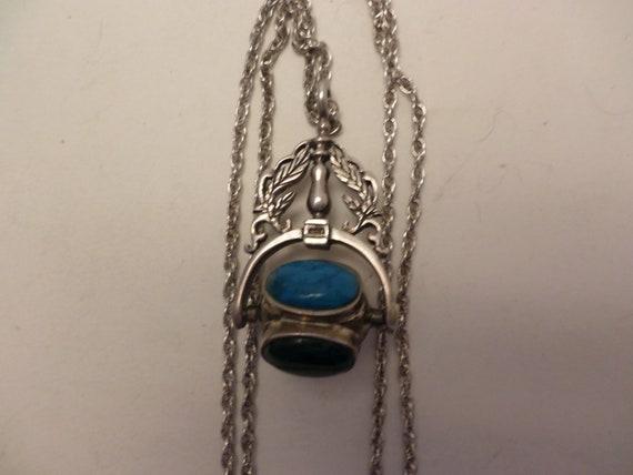 Turquoise, Tiger Eye, Malachite, carnelian rolling gemstone amulet necklace Sterling Silver M O