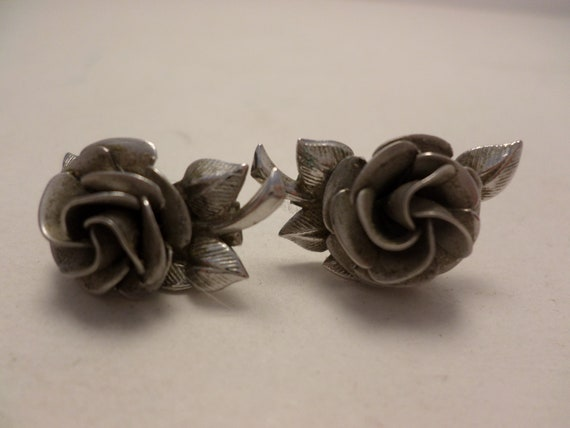 Vintage Sterling silver cabbage rose earrings Boho, ethnic, classic
