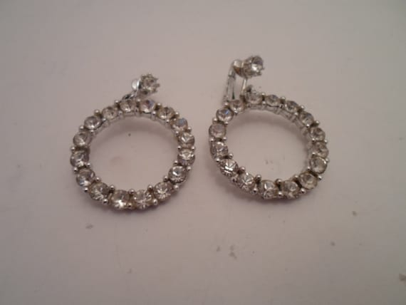Vintage Hoop Rhinestone Earrings Stunning hard to Find Size and Shape Prom Wedding Celebration Cool Clip