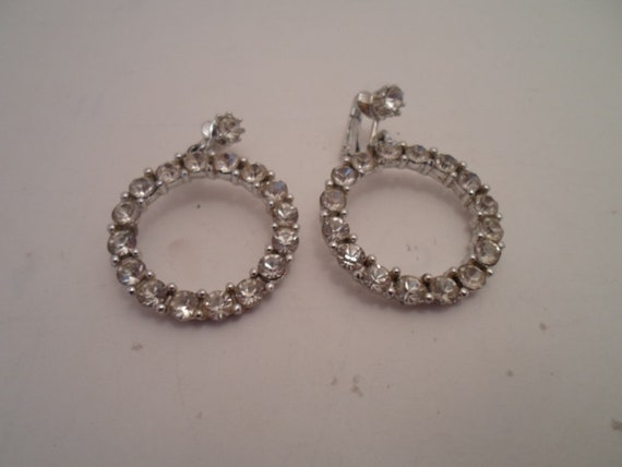 Vintage Hoop Rhinestone Earrings Stunning hard to Find Size and Shape Prom Wedding Celebration Cool