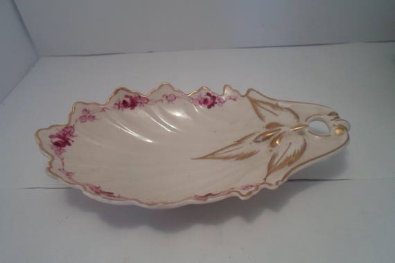 Vintage Kaolena California Pottery Trinket Soap or Olive Dish Gold Leaf & Floral design Signed