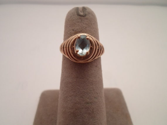 Vintage Art Deco 10k Gold Blue Topaz Aquamarine Ring Marked  Beehive Setting High Mount Faceted Stone