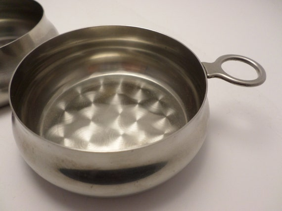 2 Vintage stainless steel Denamrk Selandia bowls from wine tasting set baby bowls porridge candles