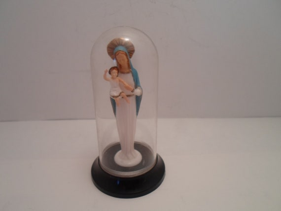 Vintage Mid Century Madonna and Christ Child in Dome Blessed Mother Mary Made in Italy Catholic Christian Spiritual Icon