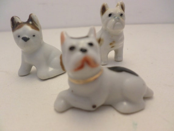 3 Vintage 1930's Occupied Japan dog cake toppers bisque Boston Terrier