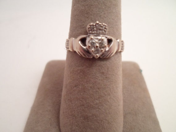Vintage !4k White Gold and Diamond Claddagh Ring Over Heart Shape Promise Ring Size 6.5 Indiana Estate To You Sparkling Delight Sweetheart