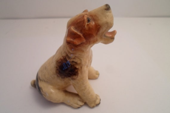 Antique Mortens Studio Barking Panting Wire Haired Fox Terrier Adorable Perfect Dog Pup excellent