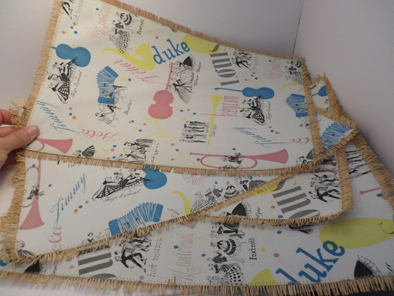 Vintage 50's straw placemats 50's dance Music Calypso, foxtrot cool Jaz Made in Western Germany Barbie era