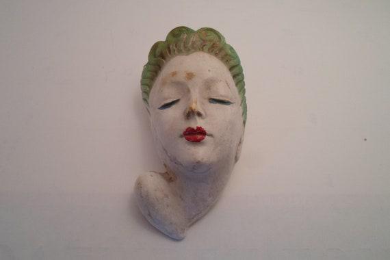 "Art Deco Original Chalk Lady head with planter a Beauty Deco Head vase 6""tall x 3"" wide Cosmetic design"