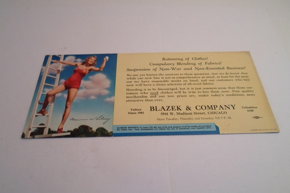 Vintage Pin Up Ink Blotter Marion Whitney Model World War II Rationing of Clothes Advertising Blazek Co Chicago Tayloring